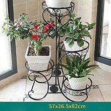 AMOS Blumenständer Balkon Wohnzimmer mehrstöckige Boden Blumentopf Rahmen Eisen Indoor Pflanze Rack ( Farbe : Schwarz , größe : 57*26.5*82cm )