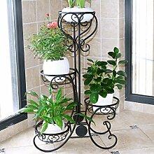 AMOS Blumenständer Balkon Wohnzimmer mehrstöckige Boden Blumentopf Rahmen Eisen Indoor Pflanze Rack ( Farbe : Schwarz , größe : 49*24*82cm )