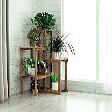 AMOS Moderne einfache blumenständer massivholz mehrstöckigen indoor multifunktionale wohnzimmer kombination pflanze vergossen grüne pflanzen balkon blume rack ( Farbe : Verkohlung )