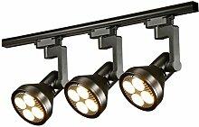 AMOS Scheinwerfer LED Scheinwerfer Bekleidung Shop Guide Rail Lights ( Farbe : Black (3head)-30W )