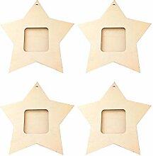 Amosfun 10 Stück Wood Star Mini-Bilderrahmen aus