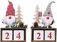 Amosfun 2 Stücke 2021 Weihnachtskalender Holz