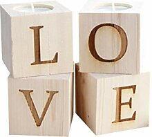 Amosfun 4 Stücke Naturholz Kerzenhalter