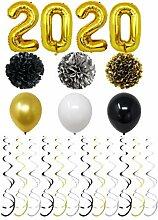 Amosfun 40 Stücke Silvester Luftballons Spiralen