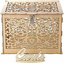 Amosfun Hochzeitskartenbox aus Holz mit Schlitz