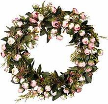 Amosfun Künstliche Blumenkranz Rosa Kranz