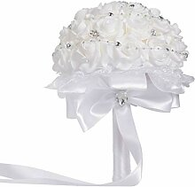 Amosfun Strass Brautstrauß weiß Holding Blume