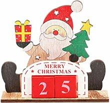 Amosfun Weihnachten Adventskalender Holz