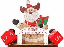 Amosfun Weihnachten Adventskalender Holzkalender