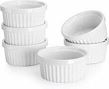 AMOYER Set von 6 Feine weiße Porzellan Ramekins