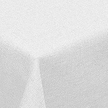 amp-artshop Tischdecke Leinen Optik Eckig 130x160 cm Weiss- Farbe , Form & Größe wählbar mit Lotus Effek
