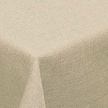 amp-artshop Tischdecke Leinen Optik Eckig 130x220 cm Beige Sand Natur- Farbe , Form & Größe wählbar mit Lotus Effek