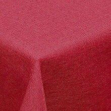 amp-artshop Tischdecke Leinen Optik Eckig 130x220 cm Rot- Farbe , Form & Größe wählbar mit Lotus Effek