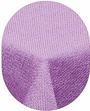 amp-artshop Tischdecke Leinen Optik Oval 130x220 cm Flieder Hell Lila- Farbe , Form & Größe wählbar mit Lotus Effek