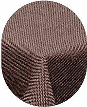 amp-artshop Tischdecke Leinen Optik Oval 135x180 cm Dunkelbraun Braun- Farbe , Form & Größe wählbar mit Lotus Effek
