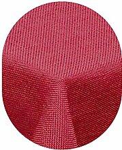 amp-artshop Tischdecke Leinen Optik Oval 135x180 cm Rot- Farbe , Form & Größe wählbar mit Lotus Effek