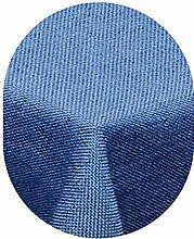 amp-artshop Tischdecke Leinen Optik Oval 160x220 cm Blau- Farbe , Form & Größe wählbar mit Lotus Effek