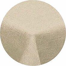 amp-artshop Tischdecke Leinen Optik Rund 140 cm Beige Sand Natur- Farbe , Form & Größe wählbar mit Lotus Effek