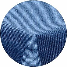 amp-artshop Tischdecke Leinen Optik Rund 140 cm Blau- Farbe , Form & Größe wählbar mit Lotus Effek
