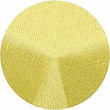 amp-artshop Tischdecke Leinen Optik Rund 140 cm Gelb- Farbe , Form & Größe wählbar mit Lotus Effek