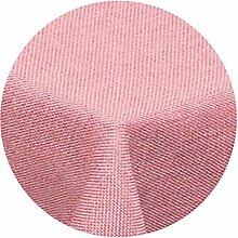amp-artshop Tischdecke Leinen Optik Rund 140 cm Rosa Hell Pink- Farbe , Form & Größe wählbar mit Lotus Effek