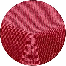 amp-artshop Tischdecke Leinen Optik Rund 140 cm Rot- Farbe , Form & Größe wählbar mit Lotus Effek