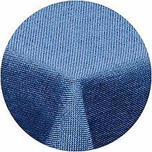 amp-artshop Tischdecke Leinen Optik Rund 160 cm Blau- Farbe , Form & Größe wählbar mit Lotus Effek