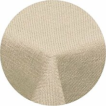 amp-artshop Tischdecke Leinen Optik Rund 180 cm Beige Sand Natur- Farbe , Form & Größe wählbar mit Lotus Effek