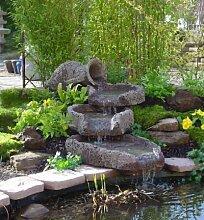 Amphore 4-teilig aus Lagrit inkl. Pumpe Gartenbrunnen Wasserspiel Steinbrunnen Felsbrunnen