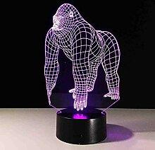 Amroe 3D Lampe Tier Gorilla Schimpanse Glühbirne
