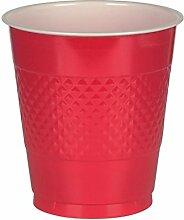 Amscan 43036.40 Partybecher Geschirr, 340 ml, Ro