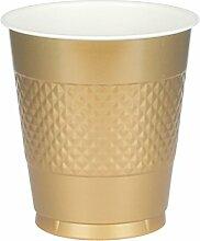 Amscan 436801-19 Trinkbecher Plastik Gold