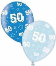 Amscan 50. Geburtstag, Sattblau & Icy Blue,