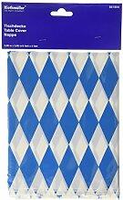 Amscan International 2,6m x 80cm Bayerische Kunststoff Tischdecke (blau/weiß)