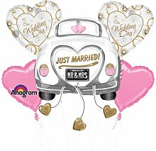 Amscan Just Married Hochzeit KFZ Bouquet Folie