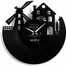 Amsterdam Geschenkidee, Vinyl Schallplatten- Uhr , Schwarz, Vinyluse original