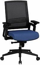 AMSTYLE Bürostuhl APOLLO A2 Stoffbezug Schreibtischstuhl höhenverstellbar ergonomisch Armlehne blau Design Chefsessel verstellbar 120 kg Drehstuhl Synchronmechanik niedrige Rückenlehne X-XL ergo