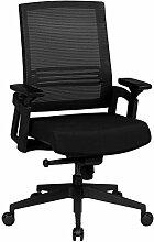 AMSTYLE Bürostuhl APOLLO A2 Stoffbezug Schreibtischstuhl höhenverstellbar ergonomisch Armlehne schwarz Design Chefsessel verstellbar 120 kg Drehstuhl Synchronmechanik niedrige Rückenlehne X-XL ergo