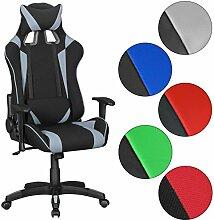 Amstyle Score Gaming Chair mit Stoff-Bezug (schreibtisch-Stuhl mit hoher Lehne   Design Racing Chefsessel mit Armlehne   Gamer Bürostuhl mit Racer Sport-Sitz und Kopfstütze   Drehstuhl in Race-Optik) Schwarz/Grau