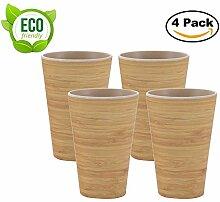 AMTNATURE ♻ 4er Set Bambus Becher mit 350 ml