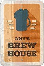 "Amy 's Brew House–hausgebrautem Bier Bar Pub Club Kunststoff Schild, plastik, 12"""" x 18"""" (30.5cm x 45.7cm)"