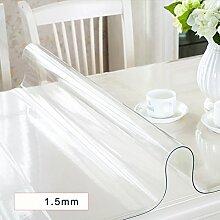 AMYDREAMSTORE Durchsichtige Heavy-duty Tischdecken Geldklammer Wasserdicht Abwaschbar Vinyl Für Rechteck-esstische Mat pad Möbel protector -A 90x150cm(35x59inch)