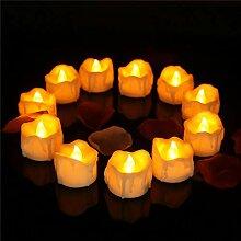 Amzbeauty 24pcs Runde Flammenlose Kerze Teelichter