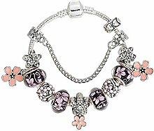Amzdai Bracelet Damenarmband,Blume Anhänger Glas