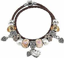 Amzdai Bracelet Damenarmband,Liebe Anhänger Ringe