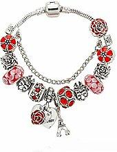 Amzdai Bracelet Damenarmband,Rose Anhänger Sakura