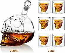 amzdeal Skull Glas Flasche, Totenkopf Flasche
