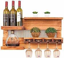An der Wand montiertes Weinregal aus Holz mit