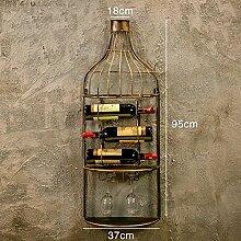 An der Wand montiertes Weinregal Retro Industrial