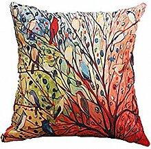 An Sai Baumwolle Leinen Quadratisch dekorativer Überwurf-Kissenbezug 45,7 x 45,7 cm 45 x 45 cm - Colorful tree